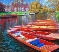 red punting boats on the water
