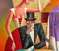 man and woman playing cards