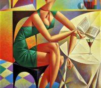 Woman in green dress drinking wine