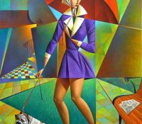 woman in a purple raincoat with red umbrella