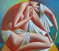 Nude woman in a circle