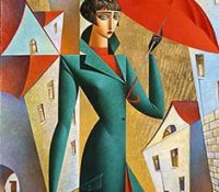 woman in green coat with red umbrella