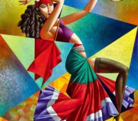 gypsy woman dancing with tambourine