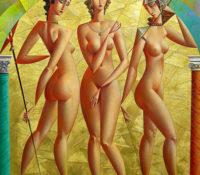 three nude women