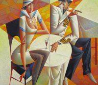 Nautical Man and woman drinking wine and smoking