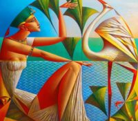 Egyptian woman with ibis