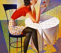 woman in red top sitting drinking wine