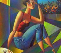 woman sitting smoking outside