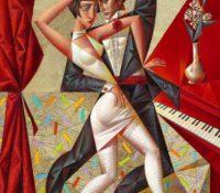 man and woman dancing tango