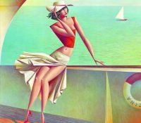 woman on the boat in white skirt