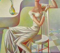 woman in white sitting on chair