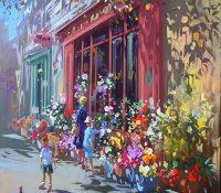 children outside of a florist