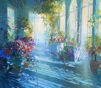large sunlit veranda with flowers