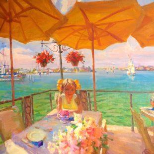 Mikhail Shapovalenko Beneath the Yellow Umbrellas 35 x 32