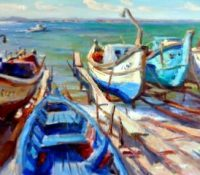 blue boats on the shore
