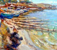 primitive wharfs on the water and boats
