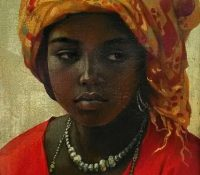 Mali woman in traditional head dress