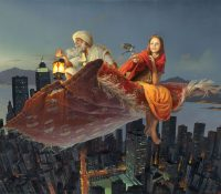 girl and old man flying on magic carpet