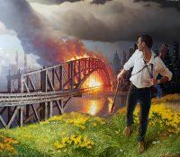 man running away after setting bridge on fire