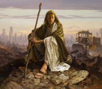 jesus christ sitting in modern ruins