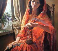 woman in orange holding sand clock