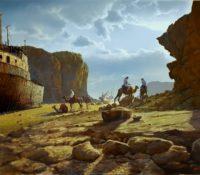 old ship in the desert, men on camels