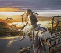 girl sitting on her bed flying with birds