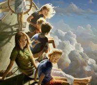 children flying on a fantasy ship