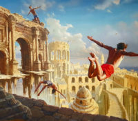 boys jumping and flying in fantasy ruins