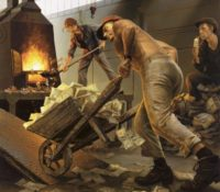 workers shoveling money into a furnace