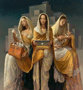 three women holding money, ipad, and dogs