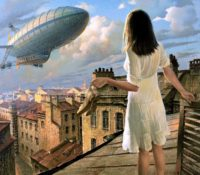 girl standing on the road looking at a zeppelin