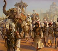 Indian soldiers, horses, and elephants marching