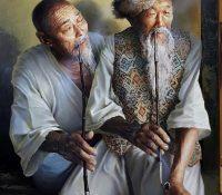 old asian men smoking pipes