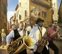 men playing tuba and saxophone in new Orleans