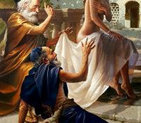 old men lusting after bathing woman