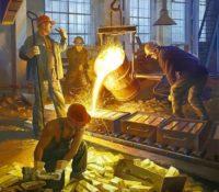 men pouring bricks of gold