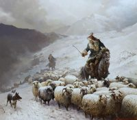mongolian man herding sheep in the snow