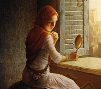 girl sitting in front of window with a hand mirror