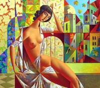 nude woman with autumn leaves