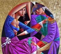 couple dancing in purple
