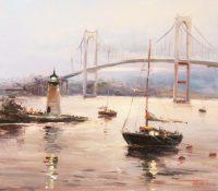 boats, bridge, lighthouse