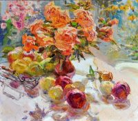 stillife with orange flowers and peaches