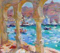 view through old columns to the sea