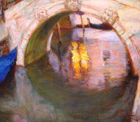 reflection on water under a bridge