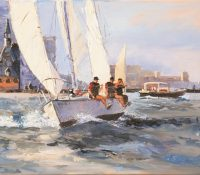 sailboats racing on the water