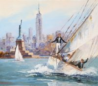 yacht and statue of liberty