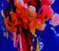 red and pink abstract flowers in vase