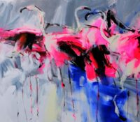 group of abstract pink flamingos