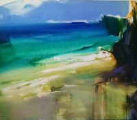 blue sky green sea yellow sand abstract